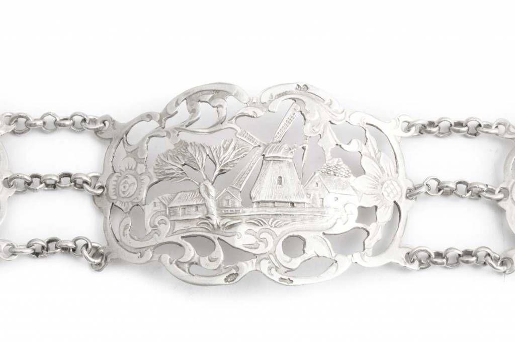 Aurora Patina Uitzonderlijke zilveren art deco armband met molen en bloemen