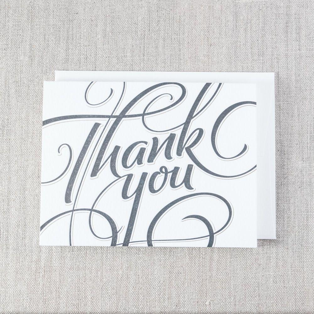 Thank You Scripty - Letterpress Greeting Card, By Pike Street Press - Seattle
