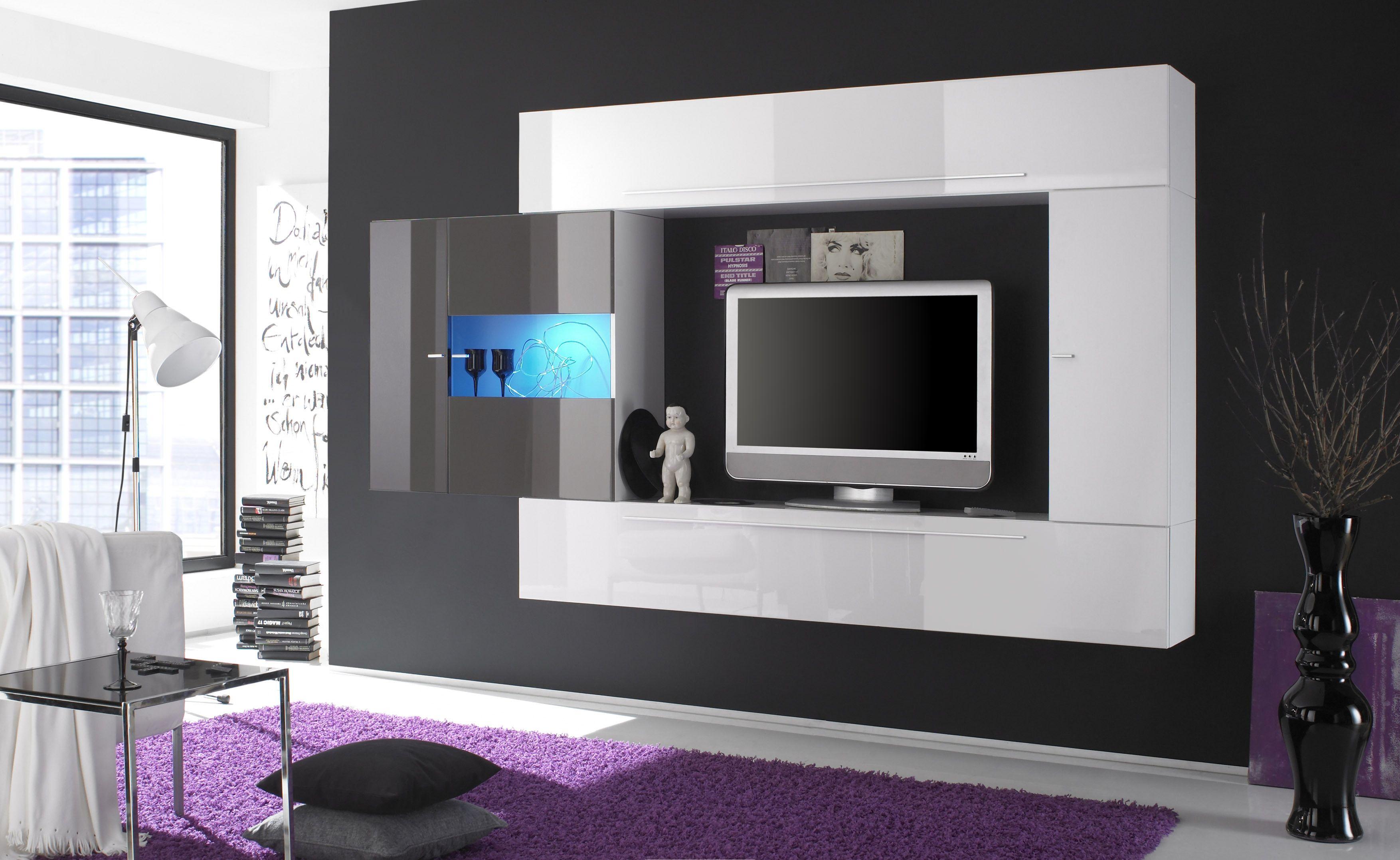 wohnwand weiss anthrazit hochglanz lackiert woody 12. Black Bedroom Furniture Sets. Home Design Ideas