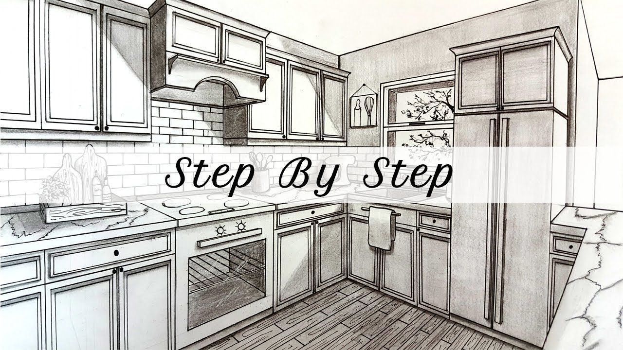 How To Draw A Kitchen In Two Point Perspective Step By Step How
