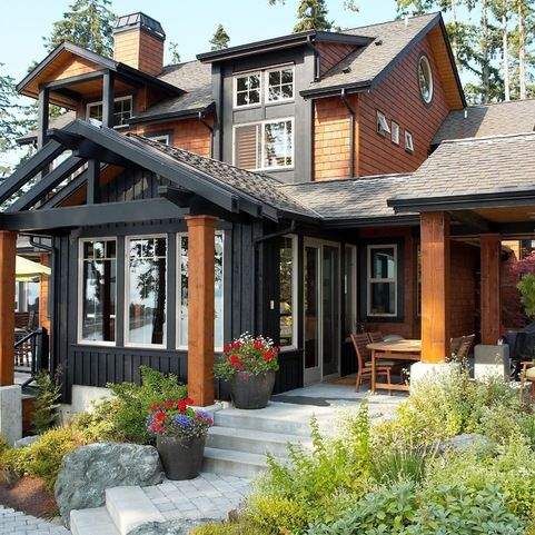 View from waterside bluff rustic exterior seattle for Dan nelson architect