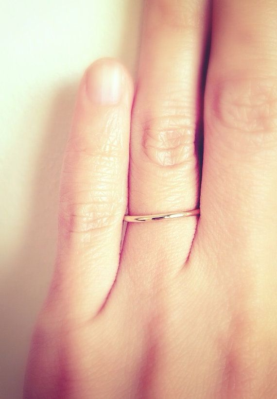 bbd89bda5c90f 1mm band ring. 14K SOLID gold. Thin Wedding Band. Wedding Ring. 1mm ...