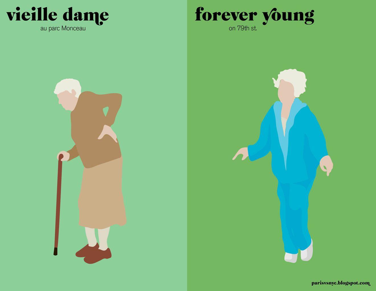 Mamie / vieille jeune   Paris vs new york, Illustration de ...