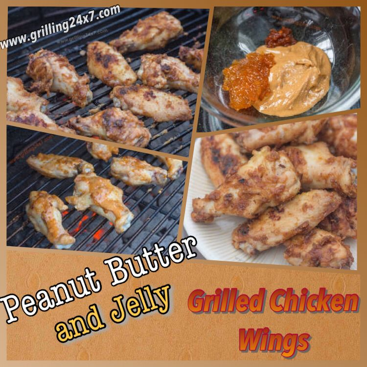 Grilling and cookout recipe for peanut butter and jelly grilled chicken wings.  Recipe uses apricot jam rather than regular grape jelly.  Wings are spicy from a purée of chili peppers in adobo sauce.