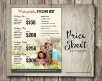 Price List Template Photography Price Sheet by StudioTwentyNine