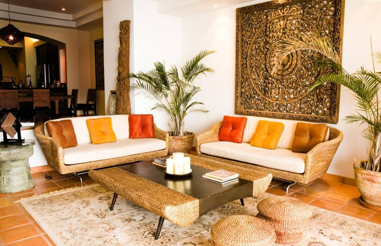 Amazing Tropical Living Rooms With Wicker Furniture And Area Rug And ...