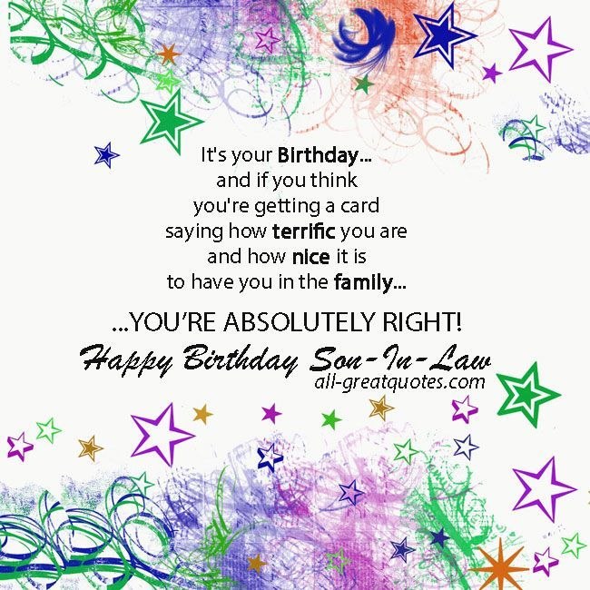 Free Birthday Cards For Son In Law Happy Birthday Son In Law
