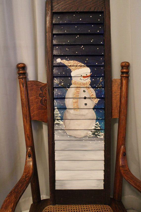Snowman Shutter Decoration by NaeLynne on Etsy, $40.00