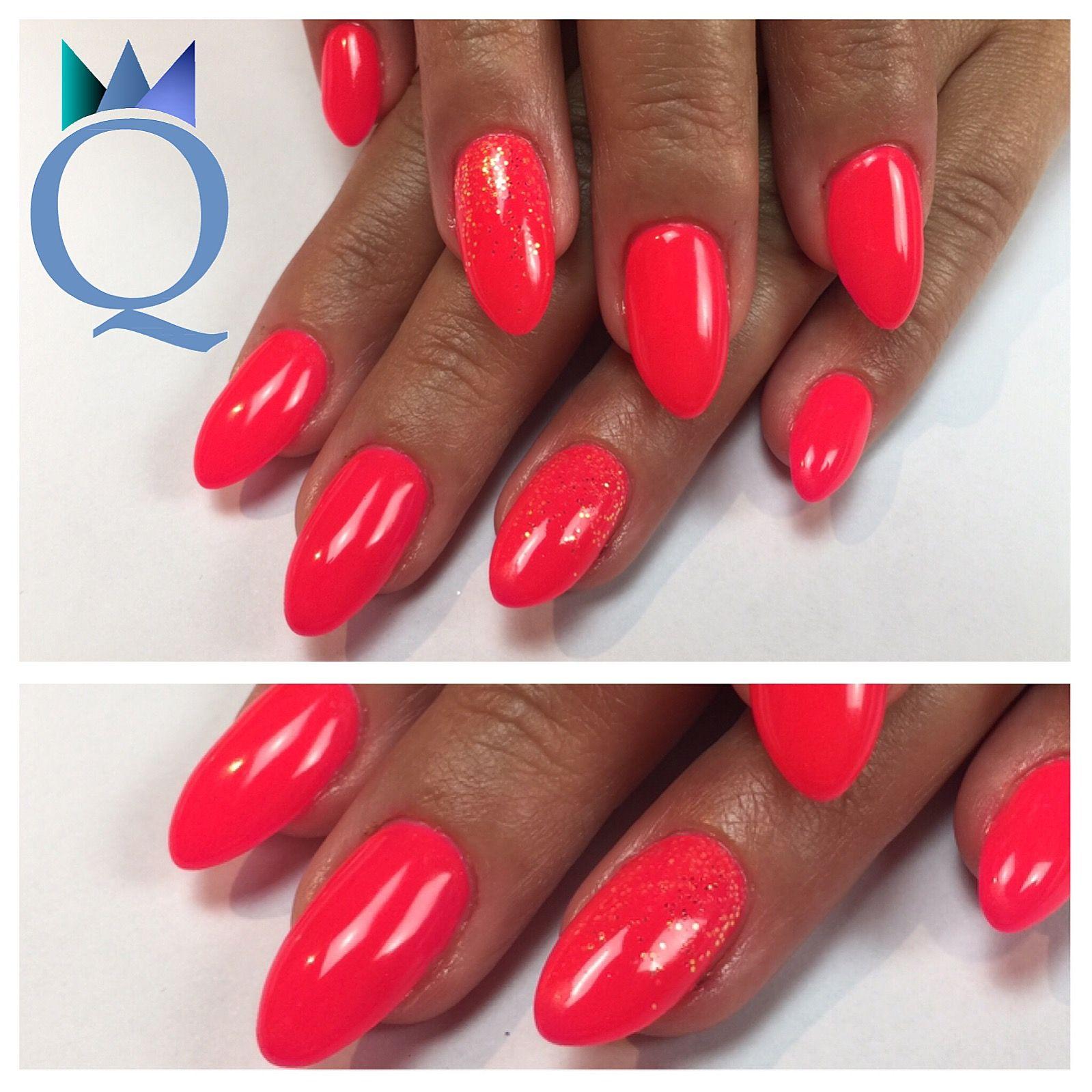 almondnails #gelnails #nails #neoncoral #neonpink #glitter ...