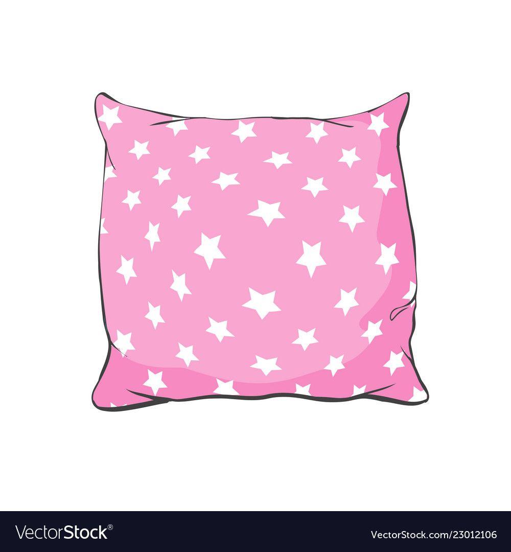 Cartoon Decorative Pillows Hand Drawn Set Of Vector Image Pillow Drawing Drawing Set Doodle Illustration