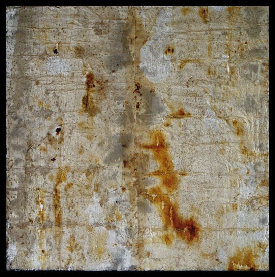 Tanya Bonello, Thermal series, Fivefold, 500x500mm, gypsum, found papermatter, polyurethane and oil on board, 2001