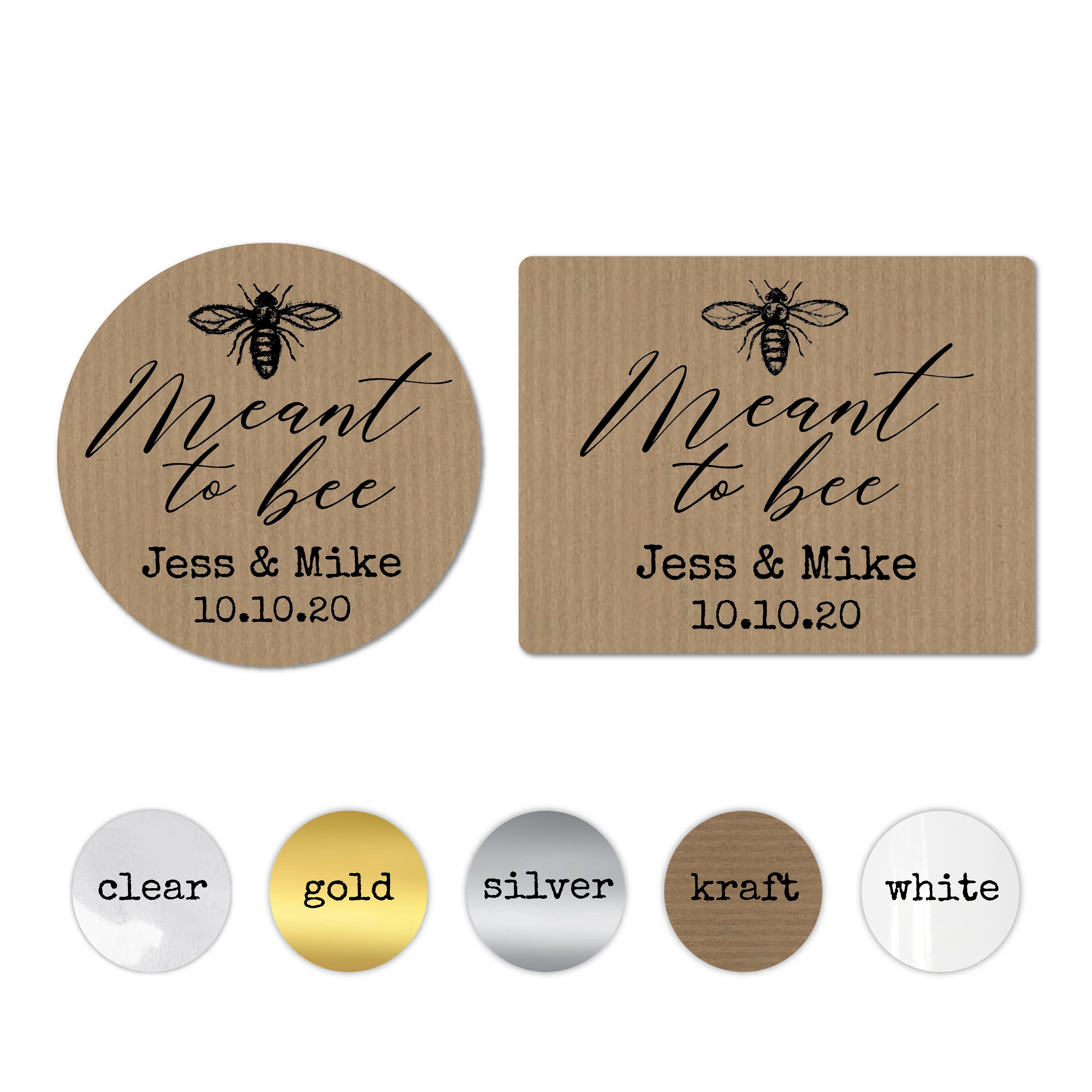 Meant to bee wedding favor stickers personalized bridal