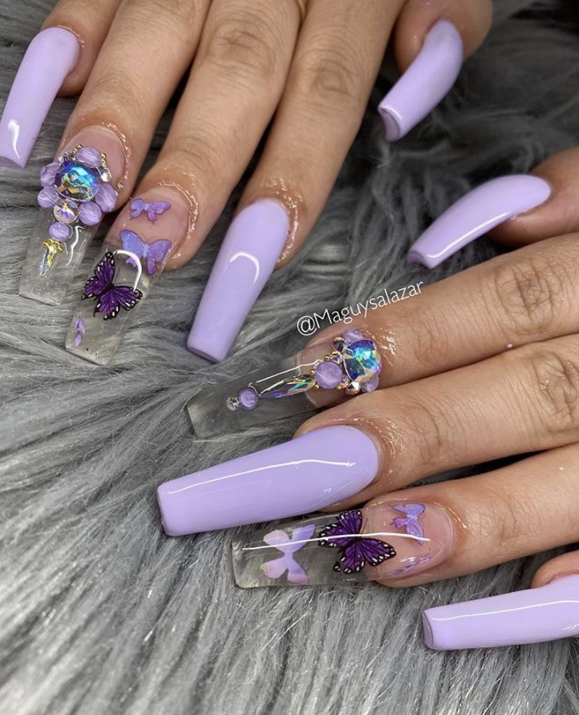 Purple Butterfly Nails In 2020 Purple Acrylic Nails Coffin Nails Long Long Acrylic Nails Coffin