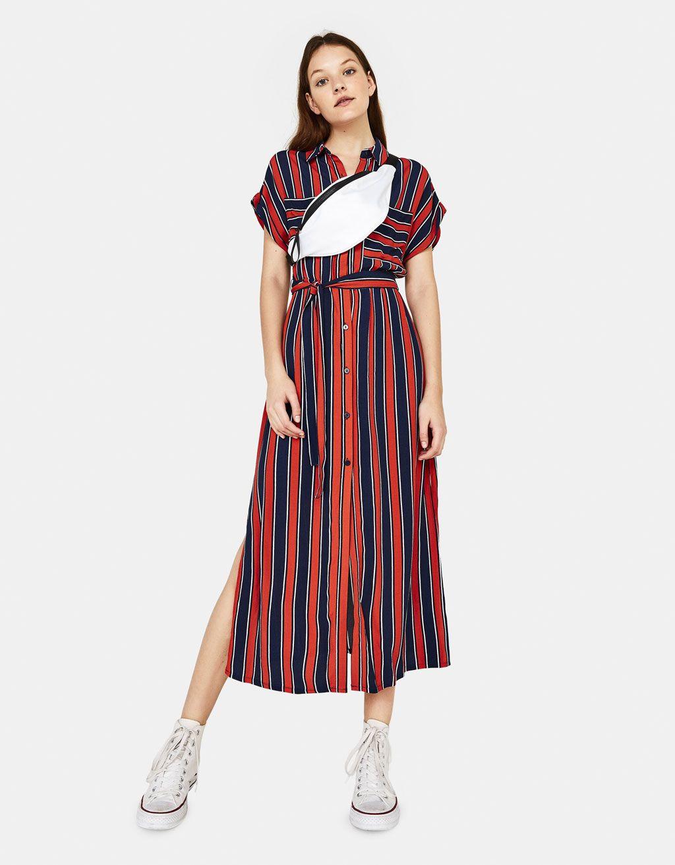 57df07e12d Długa sukienka koszulowa in 2019