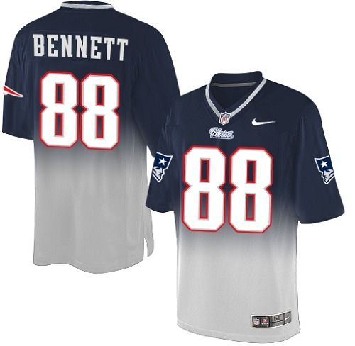 Nike New England Patriots Men's #88 Martellus Bennett Limited Navy/Grey Fadeaway NFL Jersey