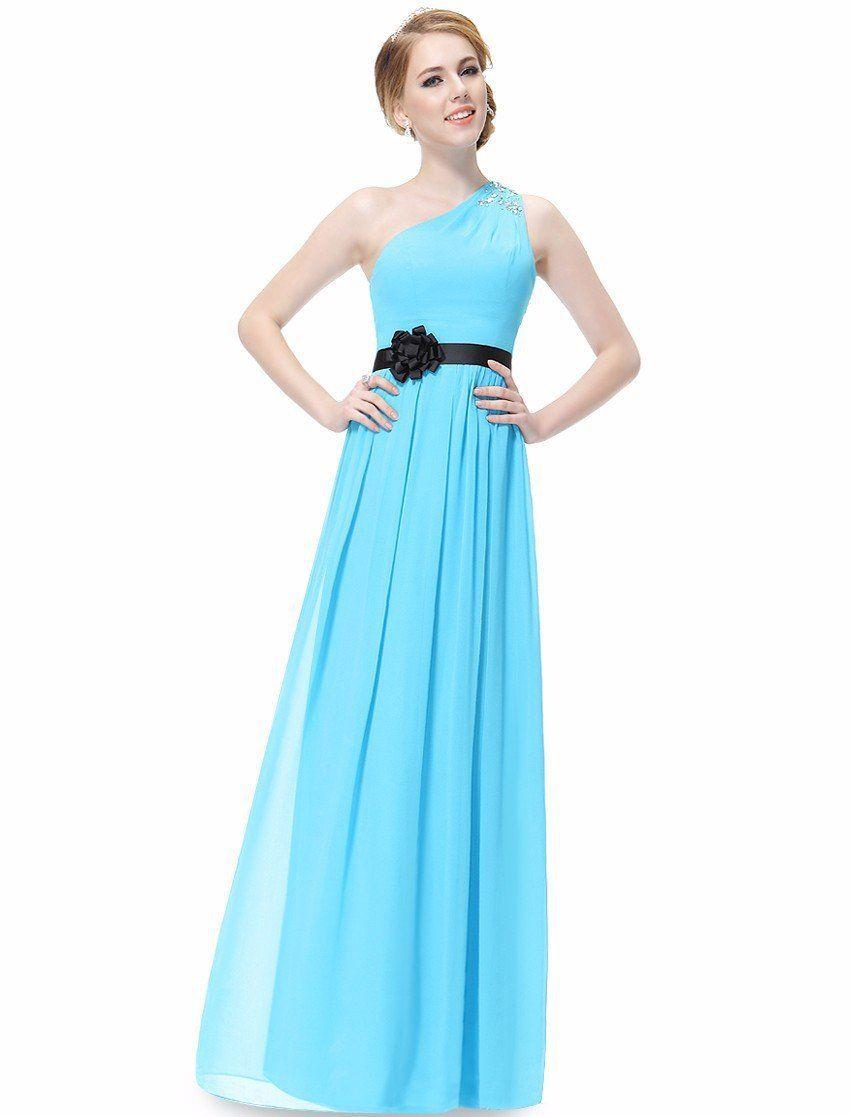 Graceful flower sash aline oneshoulder beading long bridesmaid