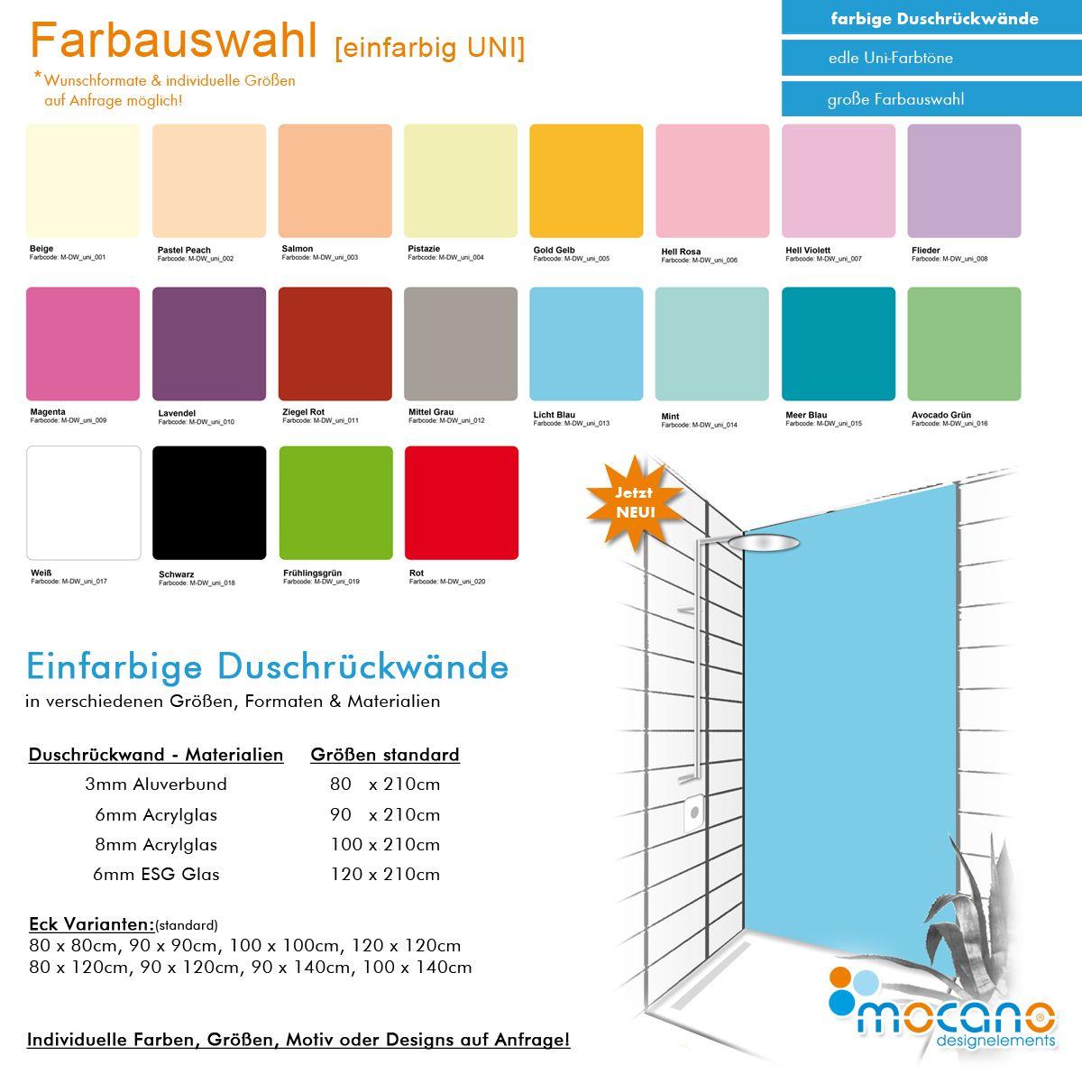 Farbauswahl An Einfarbigen Duschruckwanden Des Markenherstellers