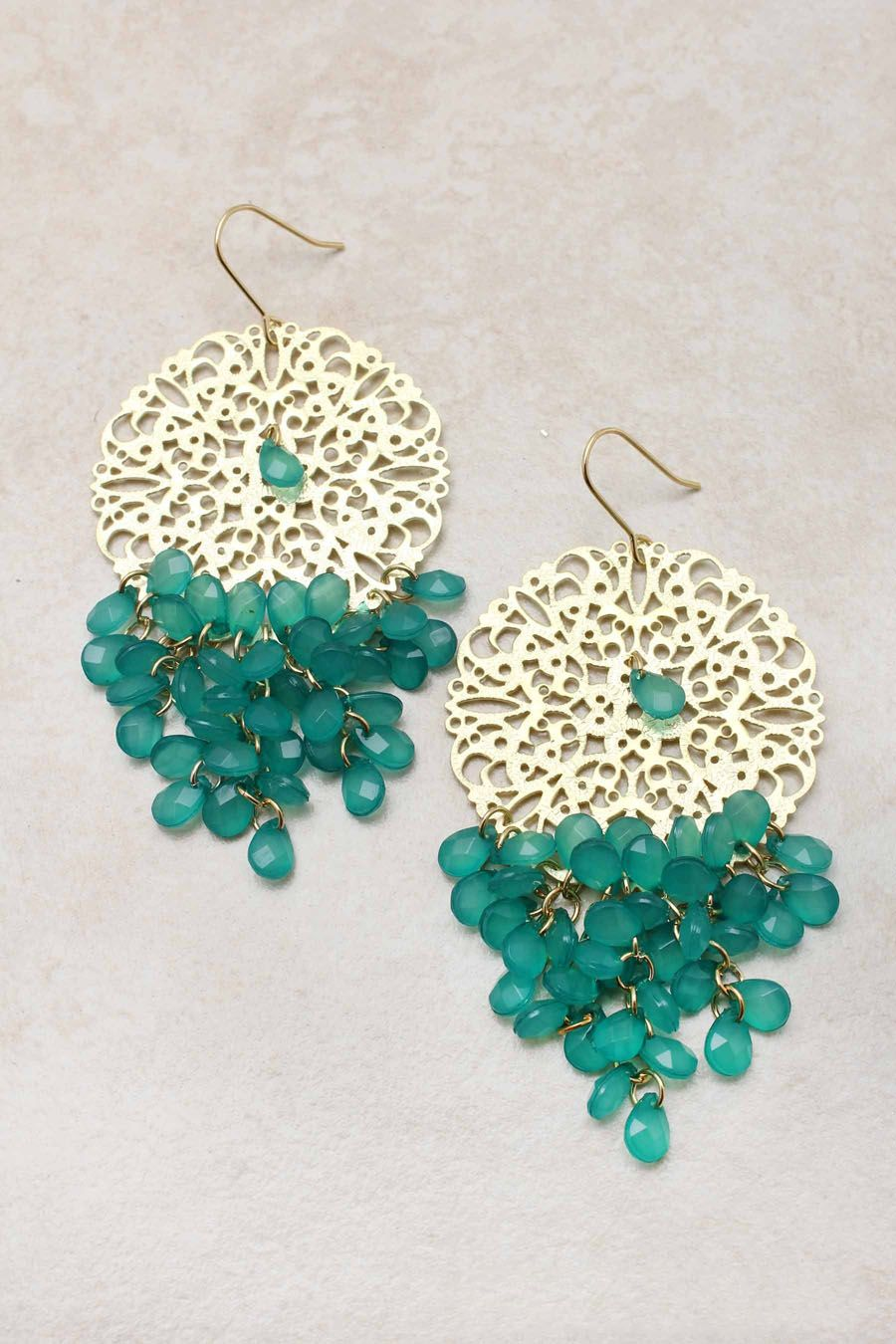 Paris green manuella chandelier earrings emma stine jewelry boho chic with a touch of dreamy delicacy faceted cut teardrops suspended in chandelier clusters from a golden laser cut filigree mozeypictures Image collections