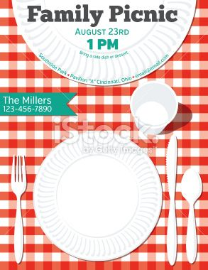 Family Reunion Bbq Vertical Invitation Template On A Red And White