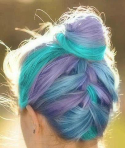 Reminds me of cotton candy <3 #hair #bun #purple #aqua