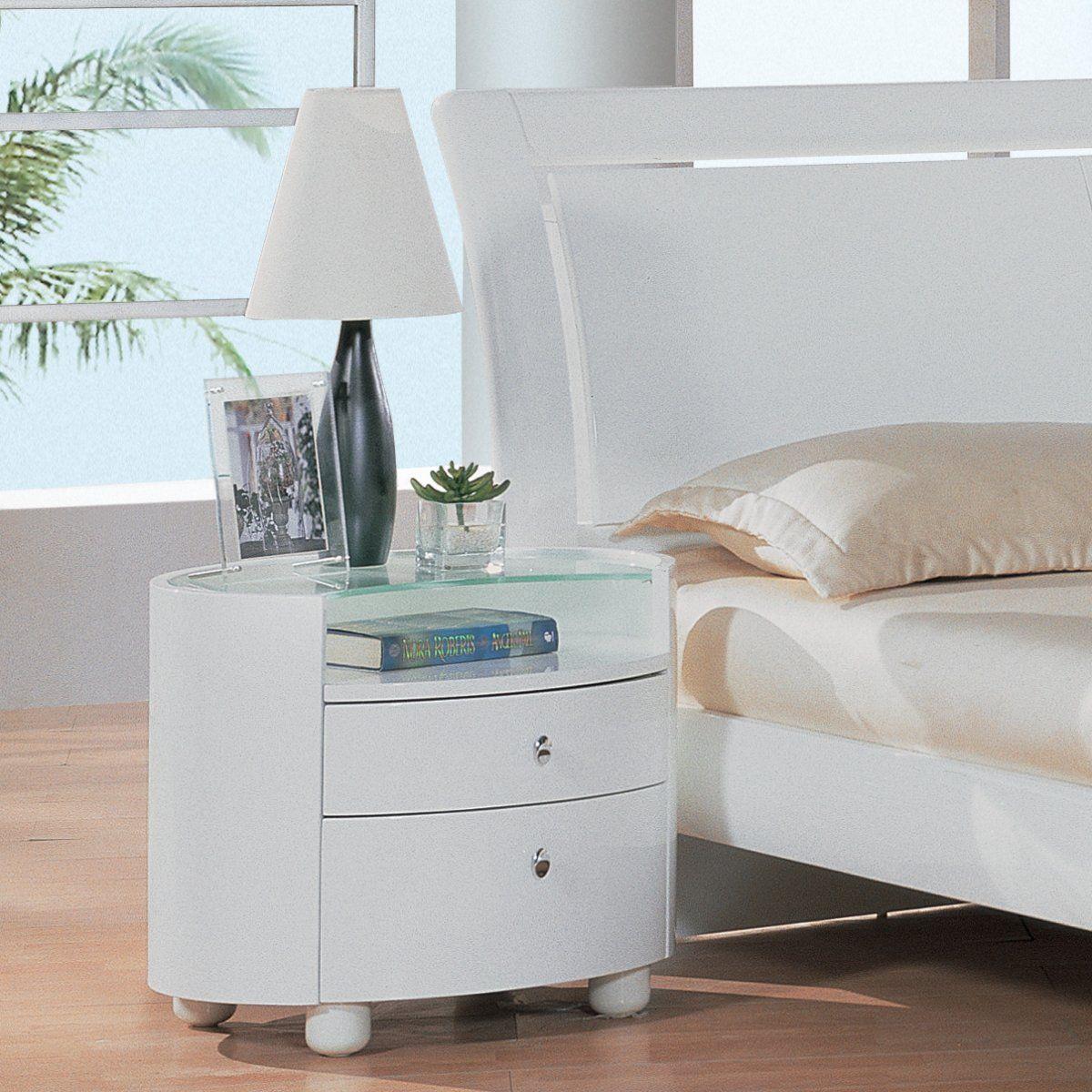 Emily 2 Drawer Nightstand White White nightstand