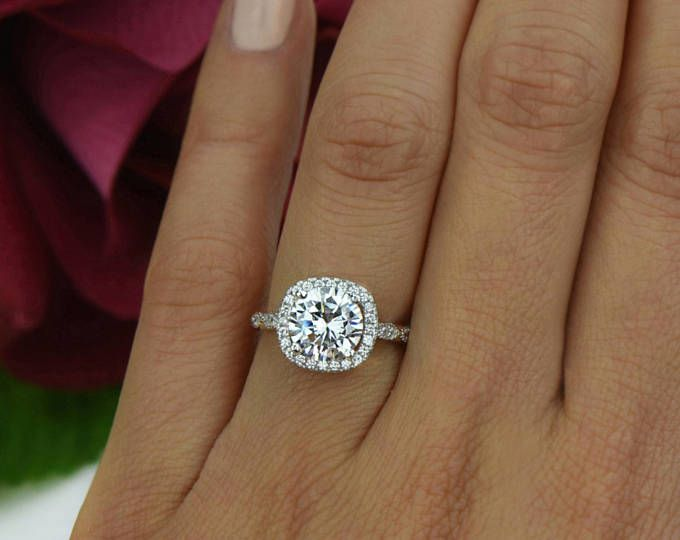 Sterling Silver Art Deco Bridal Ring Man Made Diamond Simulants Halo Engagement Ring 2.25 ctw Vintage Inspired Ring Promise Ring