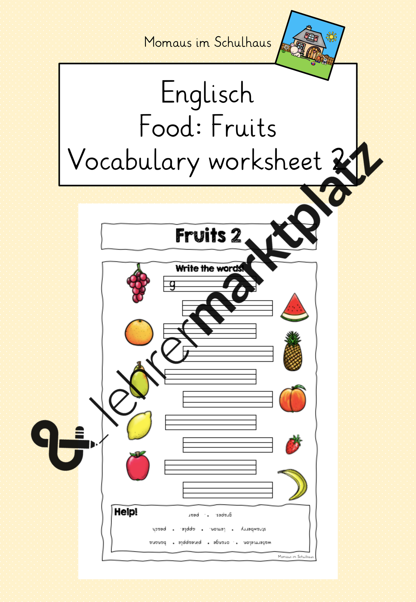 Food Fruits Worksheet 2 Fruchte Arbeitsblatt 2