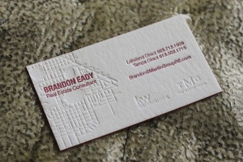Thick Letterpress Business Cards For A Real Estate Professional