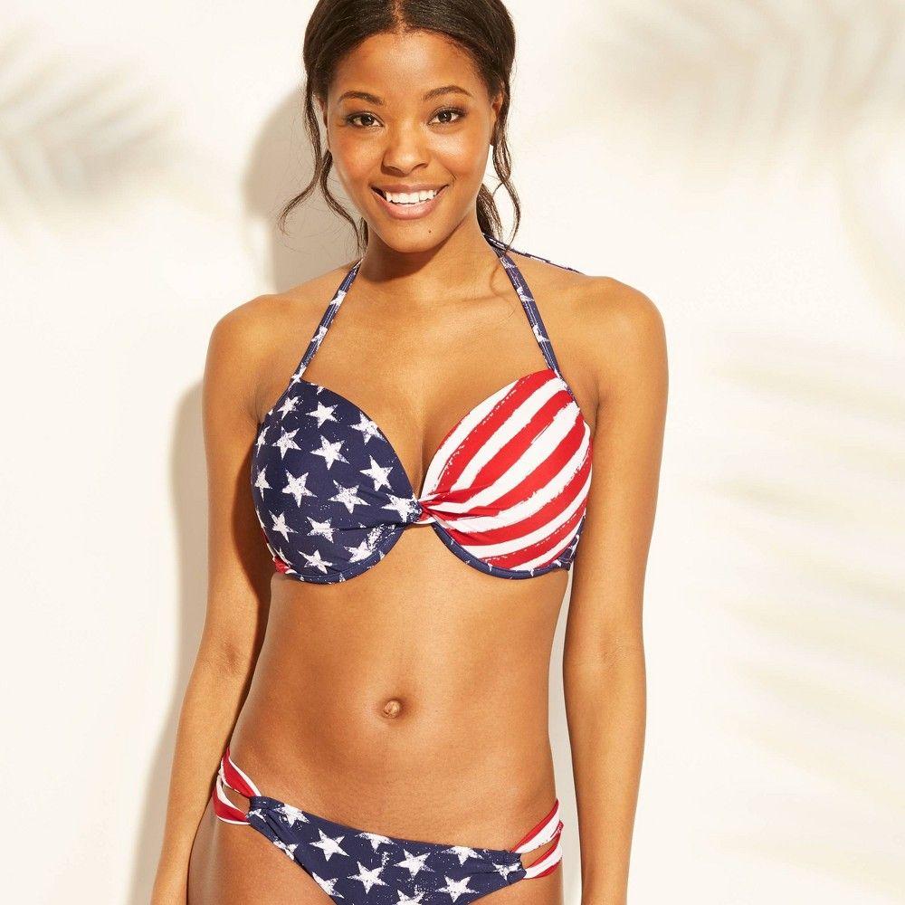 b989a4ade44c8 Women's Stars and Stripes Push Up Bikini Top - Xhilaration Red Stripe/Blue  Star