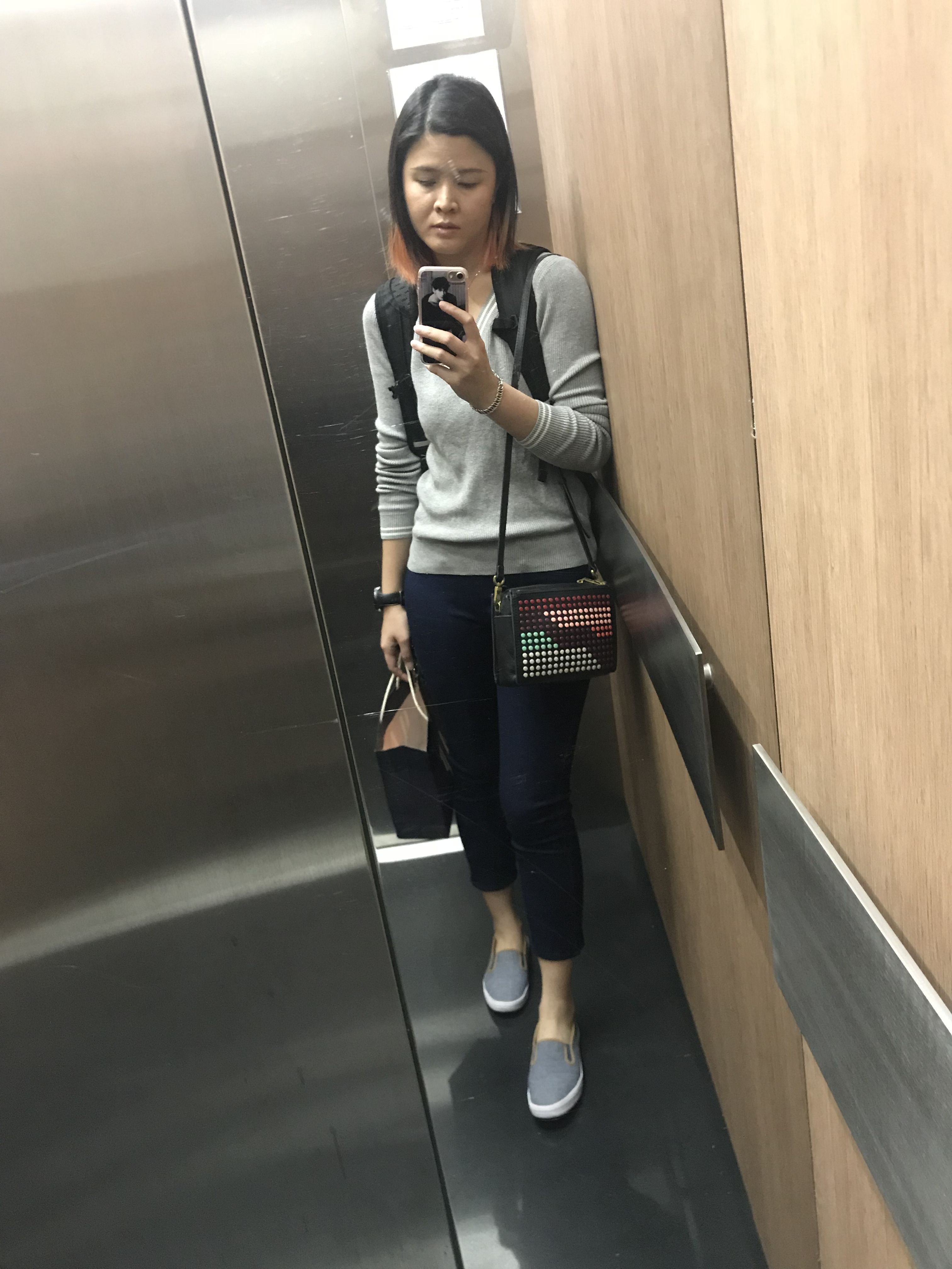 9517a1b275 OOTD: Long sweater and cropped pants - Uniqlo , Crossbody Sling - Fossil ,  Slip on - American Eagle, Backpack - Puma Stance hooded