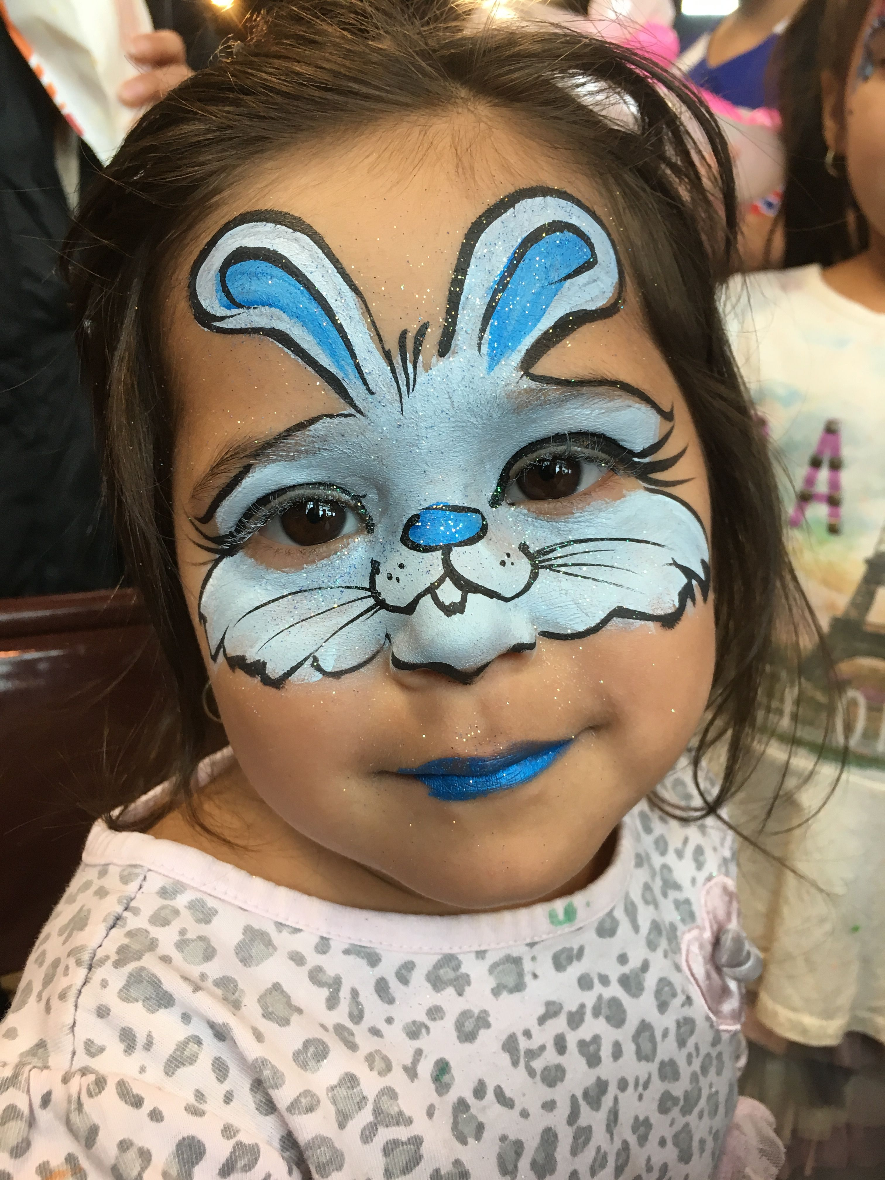 Bunny Face Stops At The Nose By Wina Shelley Of Party Picassos Face Painting 312 316 7819 Face Painting Designs Girl Face Painting Face Painting