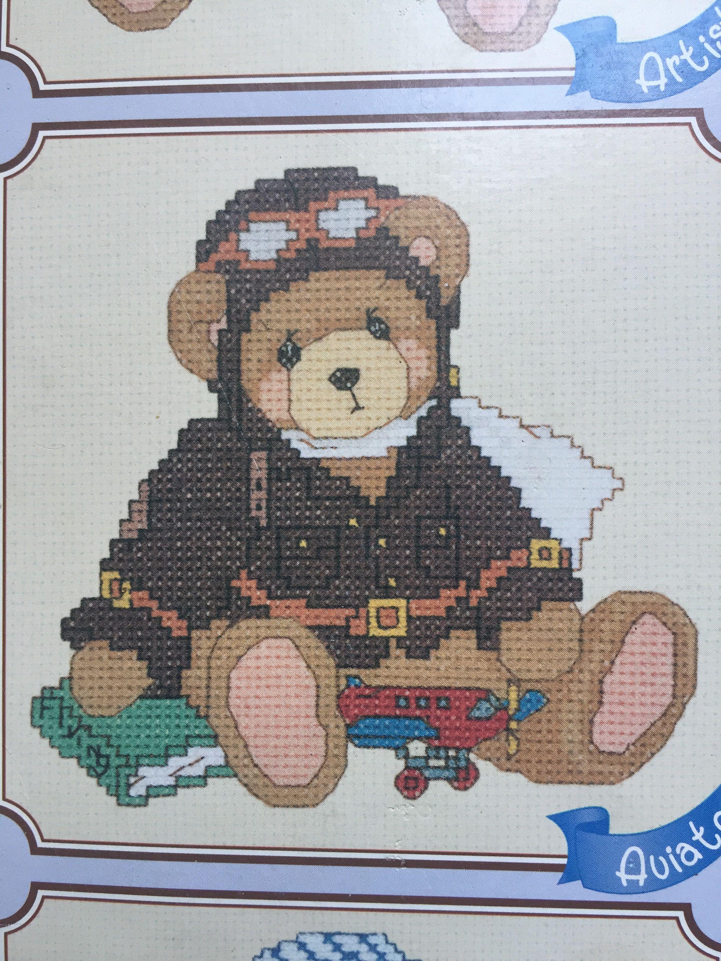 Ours aviateur point de croix. 1e | Beertjes, Teddyberen, Borduren