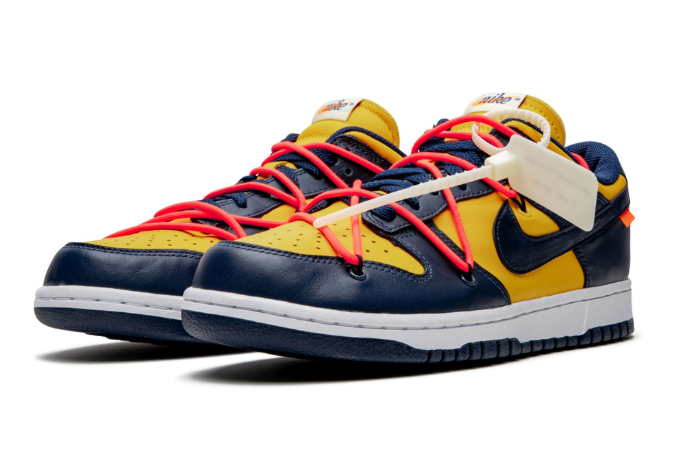 A Better Look At The Off White X Nike Dunk Low University Gold Nike Dunks Sneakers Men Fashion Nike Dunk Low