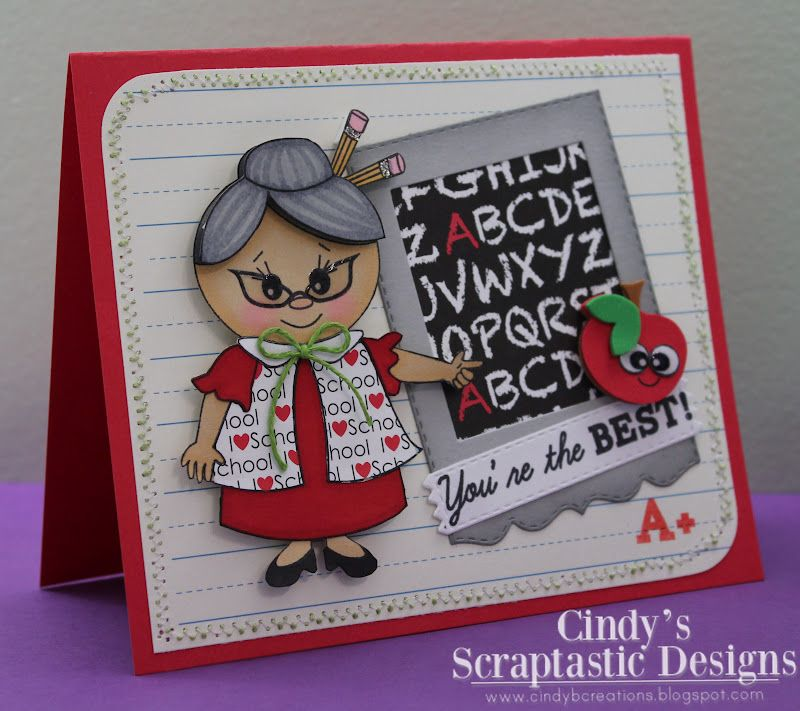 Cindy's Scraptastic Designs: Peachy Keen #35 Just Cards Teacher Theme