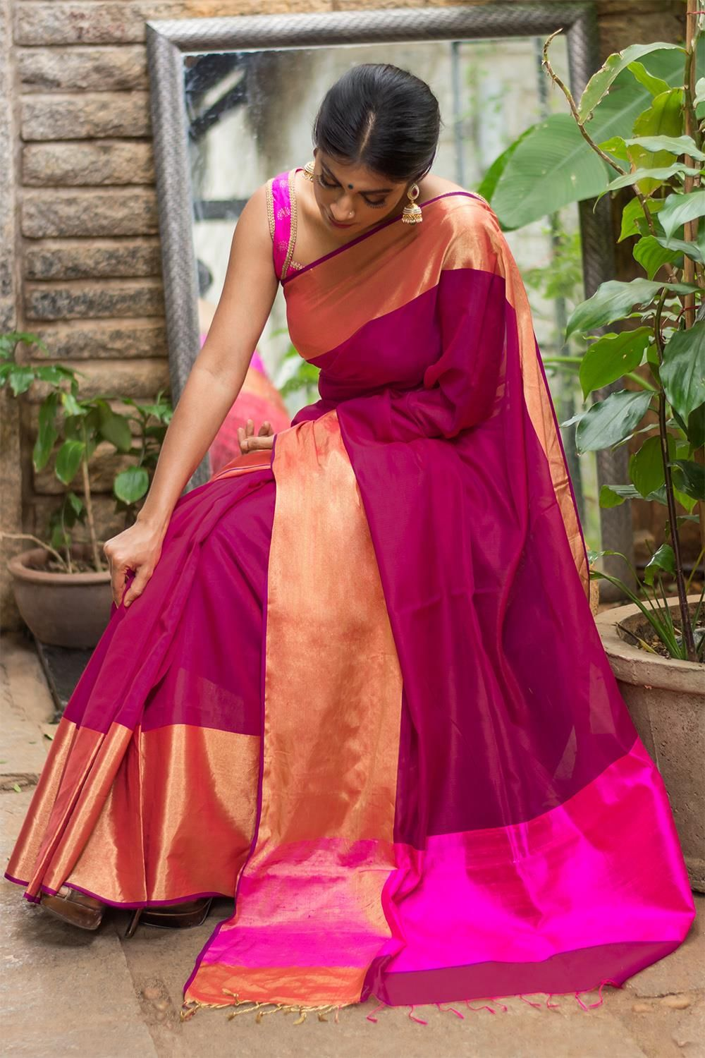 34274b0c2 House Of Blouse Magenta Pure Chanderi Cotton Silk Saree With Zari Border   Wedding  Bridal  SilkSaree