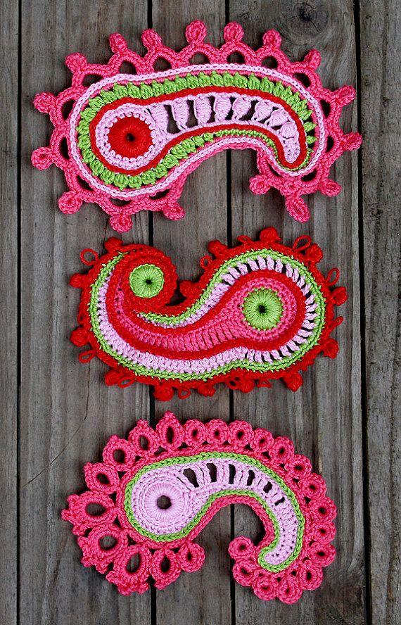 Paisley loop- crochet pattern, PDF in English   Häkeln, Handarbeiten ...