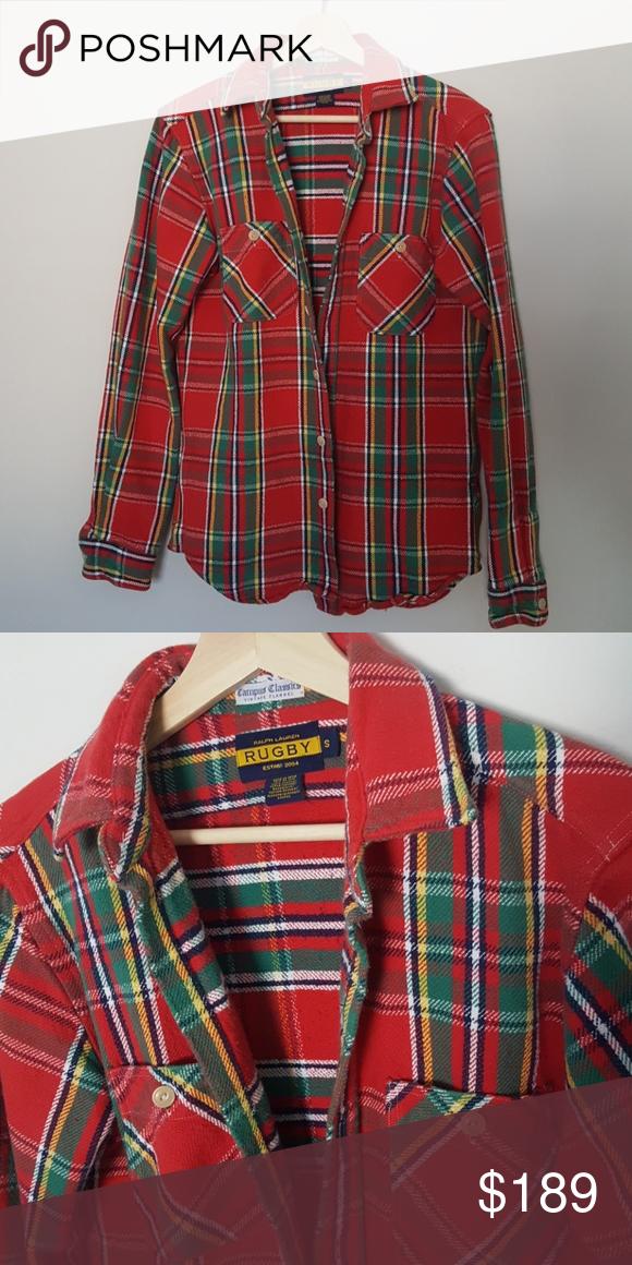 Rare Ralph Lauren Rugby Flannel Shirt Flannel Shirt Vintage Flannel Flannel