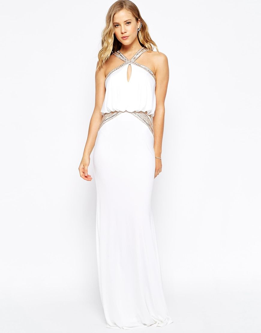 Forever unique maxi dress with embellished necklace and waist red