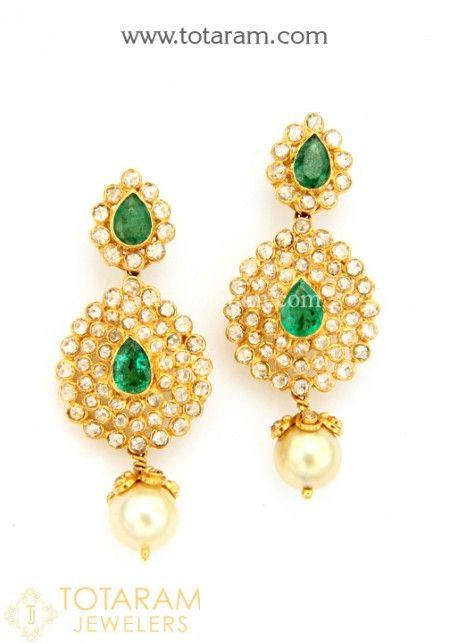 Uncut Diamond Earrings Online Small In 22k Gold Or Chand Balis Bali