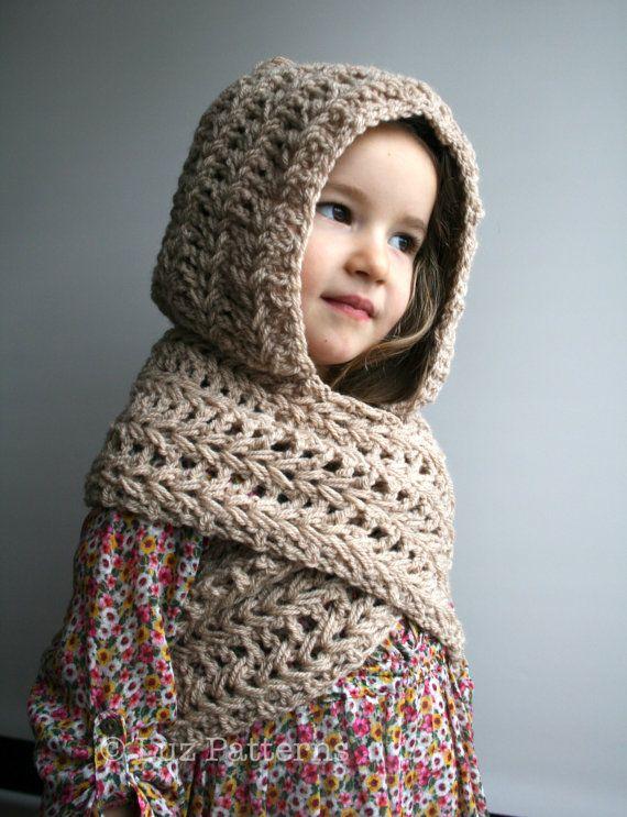 Crochet Pattern, INSTANT DOWNLOAD crochet hat pattern, hooded scarf ...