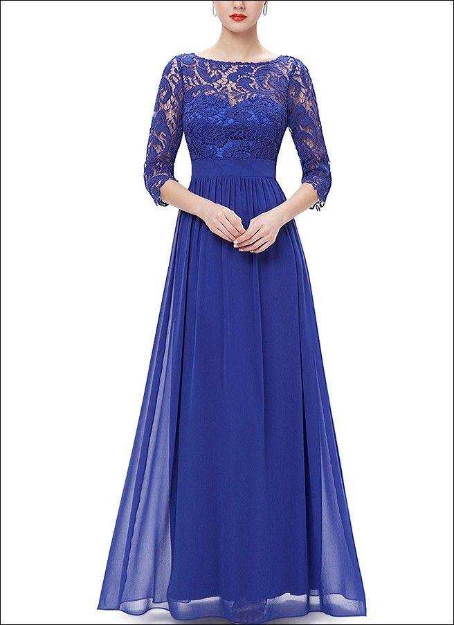 Blaues Abendkleid mit langen Ärmeln und Spitze ...