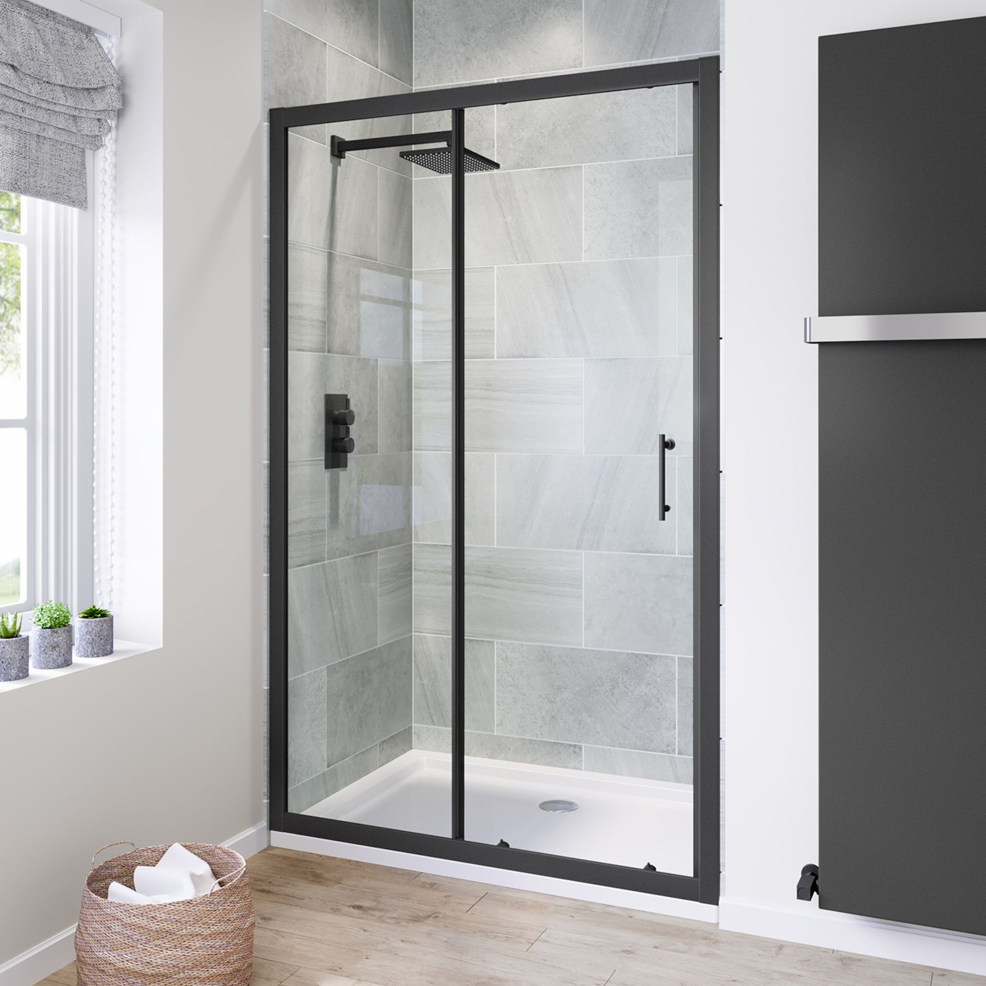 1200mm 6mm Black Frame Sliding Shower Door Shower Doors Black Shower Doors Framed Shower Enclosures