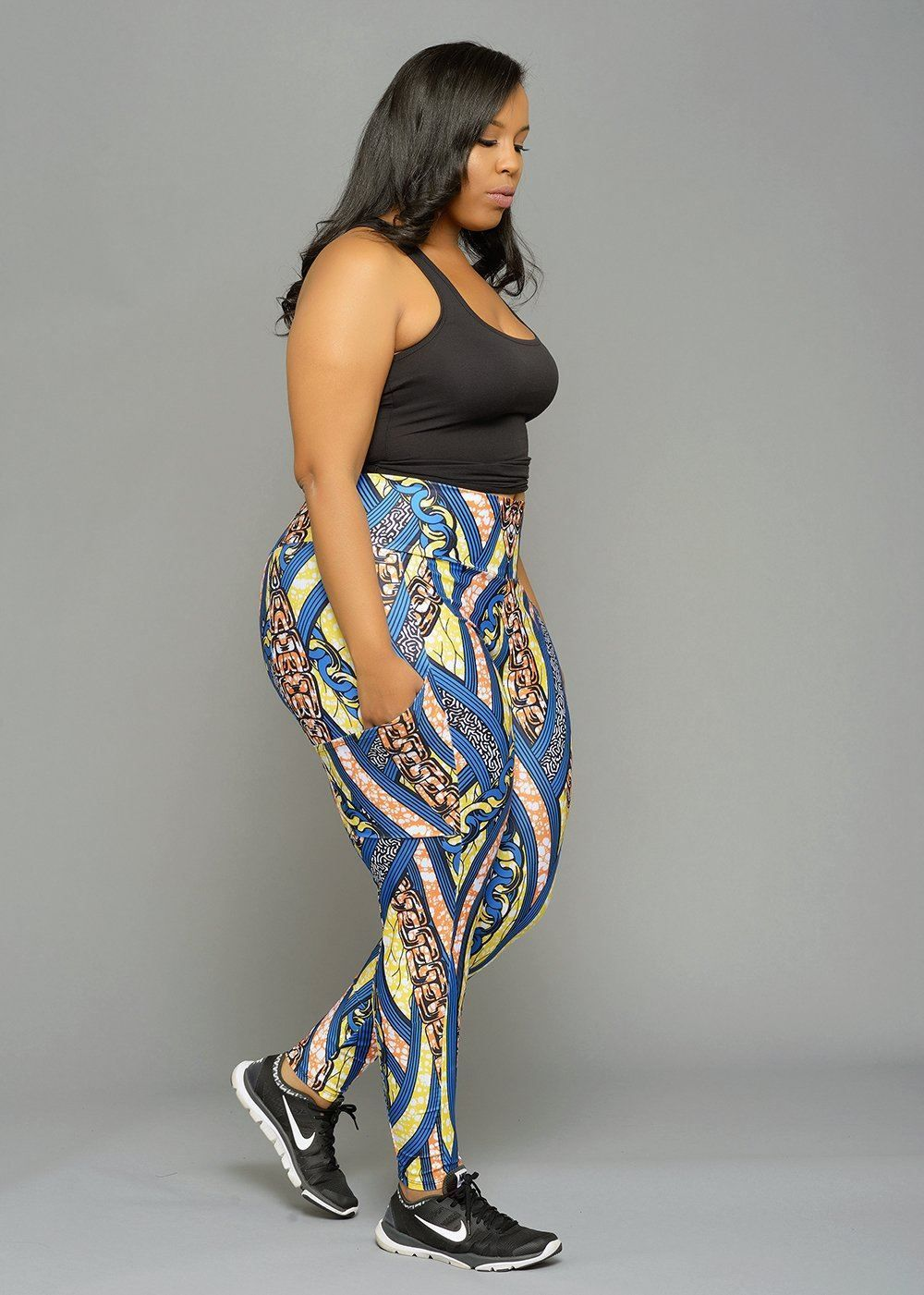 1ff0dca6c441f Naki African Print Yoga Pants Leggings (Orange/Yellow/Blue Lines ...