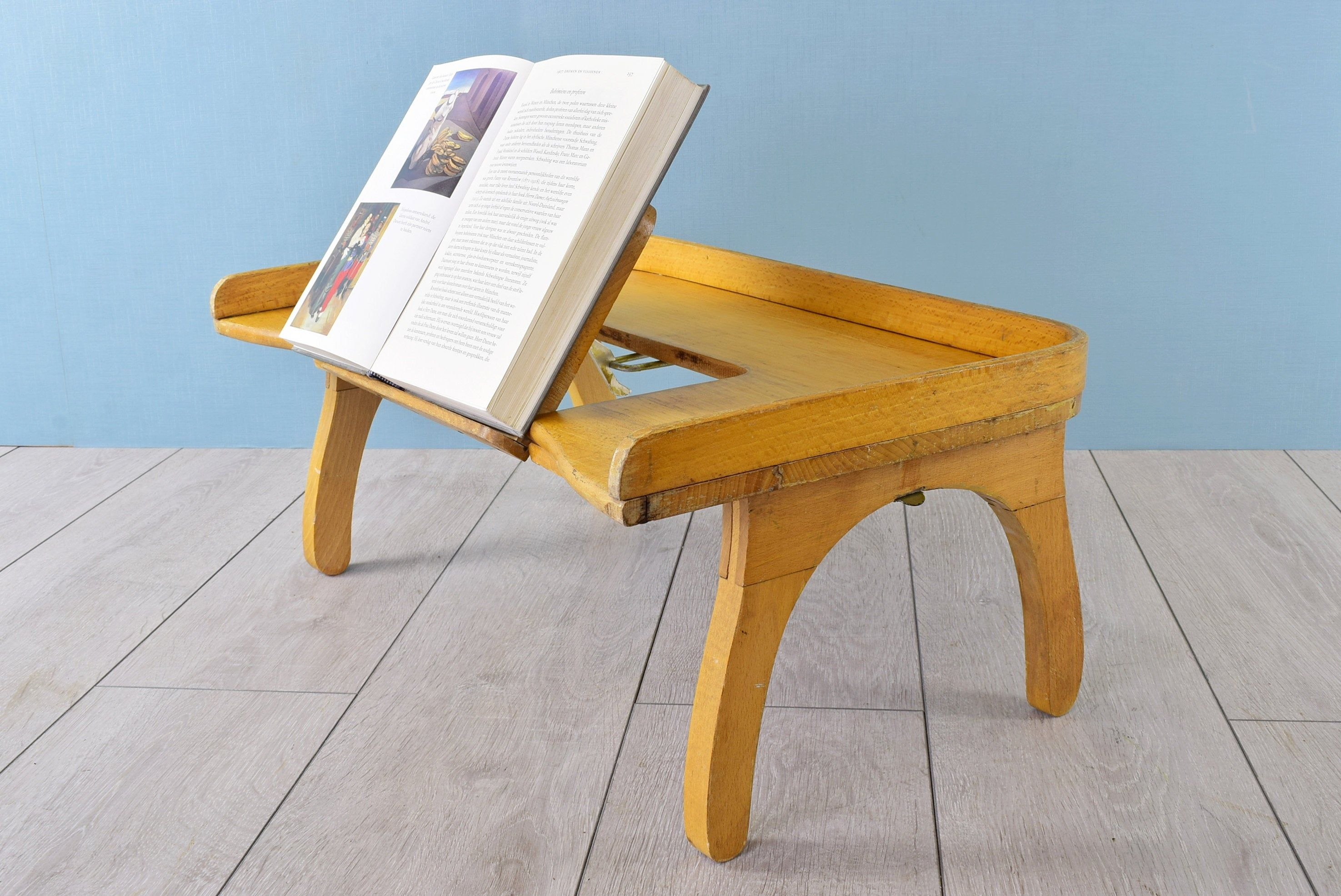 Vintage Bed Tray With Books Stand Torck Retro Design Breakfast Tray With Legs Fifties Folding Reading Table In Beech Wood 1950s Decor