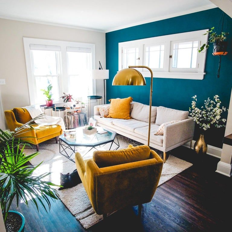 Pin On Home Sweet Home #yellow #accent #wall #in #living #room