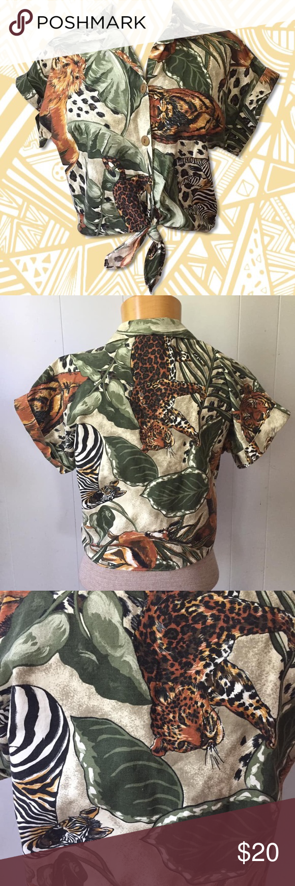 Vintage Jungle Pattern Button Up Knotted Crop Top MLove love love this vintage crop top. Really cool jungle print. Size is unmarked but my guess is about S-M but please refer to flat measurements to be sure. In beautiful condition, no visible flaws.  Chest: 20  Length: 19  Bicep: 8  Sleeve Length: 13  I am always open to offers!  Please message me if you would like additional info on item. All clothing measurements are taken on a flat surface, un-stretched. connections Tops Crop Tops #jungle #junglepattern