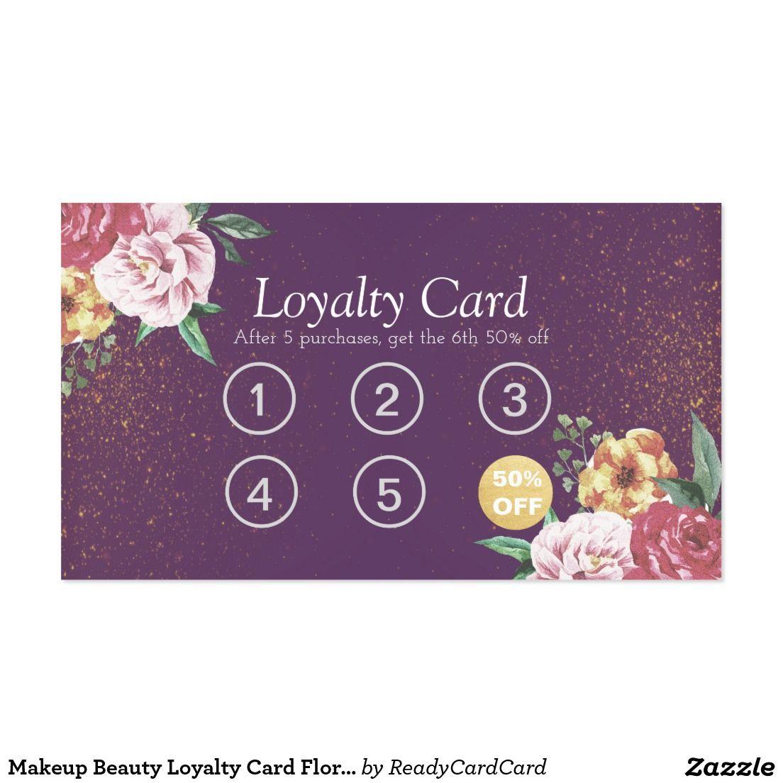 Makeup Beauty Loyalty Card Floral Purple Glitter | MAKEUP BEAUTY ...