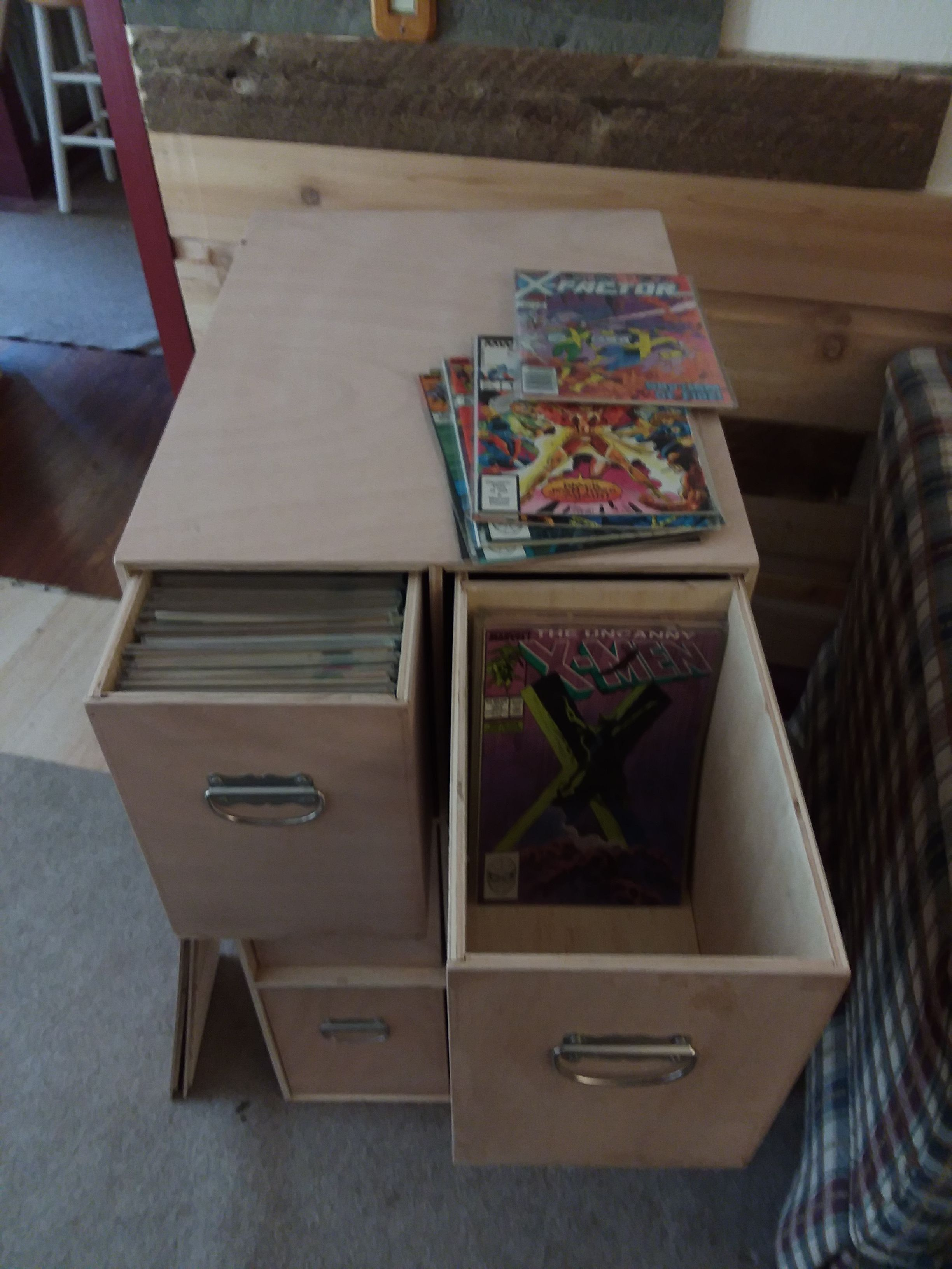 6 Comic Book Storage Boxes And A Free Cabinet Comic Book Box Storage Comic Book Storage Comic Book Rooms