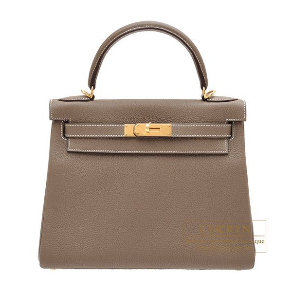 0996fe70d1161 Hermes Kelly bag 28 Retourne Etoupe grey Togo leather Gold hardware ...