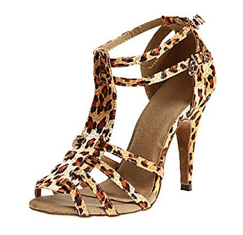 Minitoo Womens TH055 TStrap Stylish Leopard Satin Wedding Ballroom Latin Taogo Dance Sandals 10 M US Read More Reviews Of The Product By Visiting